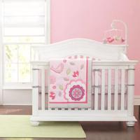 Wholesale bird crib bedding set online - 7Pcs Baby bedding sets Applique Embroidery D bird Crib bedding set cotton Cot bedding set for baby girl Cot bumper set Quilt Bumper