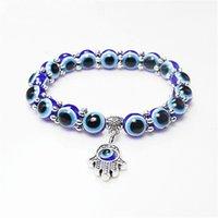 peru de jóias venda por atacado-Moda Turquia maus Olhos Azuis contas pulseira encantos Homens Mulheres Religiosas Hamsa Mão Pulseira Bangles MFJ735 Atacado Jóias