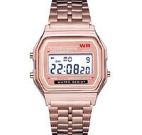 f91 relógio digital venda por atacado-Unisex F91 Aço Relógios Hot Moda LED Relógio Eletrônico Dos Homens de Ouro LEVOU Relógio Digital Das Mulheres Maré Modelos Rose Relógios Livre DHL