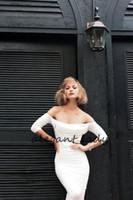 kleider kurz kim großhandel-Halloween Sexy Marilyn Wie auf Kim Kardashian Cocktail Party Kleider mit langen Ärmeln gesehen 2019 Hot Short Prom Abendkleider tragen