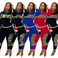 leopar kız eşofman toptan satış-Kadınlar Leopard Kasetli Eşofman Uzun Kollu Patchwork kazak Pantolon İki adet Kıyafetler seti kızlar Spor Suit LJJA3629-13 Pantolon Tops