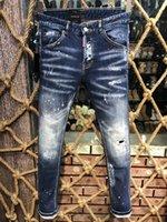 jeans de hombre 28 32 al por mayor-Marca de moda europea Hip Hop pantalones vaqueros largos hombres rectos azul marino de la motocicleta para hombre Causal D2 Jeans marea apenado pantalones vaqueros rasgados 28-38
