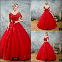 Wholesale wedding dresses hottest bride models for sale - Robe De Soiree ball gown red cap sleeve wedding dress lace appliques beading princess bride gowns sheer back corset wedding dresses hot sale
