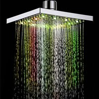 Wholesale showers led lights square for sale - Group buy Dropshipping LED Auto Changing Shower Square Head Light Rain Water Home Bathroom Colors