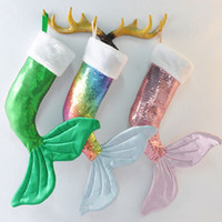 Wholesale tail sock resale online - 3styles Mermaid sequins Christmas socks fish tail Christmas day decorative pendant ornament socks Fishtail gift bag candy holder FFA2821