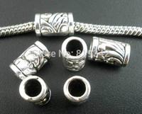 avrupa metal spacer boncuklar toptan satış-Moda Takı Boncuk Ücretsiz Kargo 50 adet Antik Gümüş Ton Desen Tüp Spacer Boncuk Avrupa Charm Bilezik Uyar 11x6mm takı Bulguları