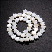 contas brancas de casca plana venda por atacado-MOP Madrepérola Shell Beads Natural White solta Plano Pentagrama estrela contas encantos de água doce Shell chip para DIY jóias