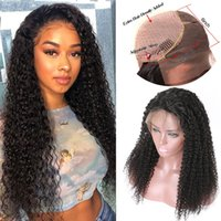 pelucas rizadas mongoles al por mayor-Afro Kinky Rizado Pelucas delanteras del cordón del pelo humano Brasileño Peruano Malasia Indio Mongol Rizado Pelucas de cabello humano para mujeres negras Rizado rizado