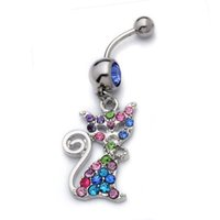 Wholesale stainless steel fox ring resale online - Mix Crystal Stainless Steel Fox Belly Button Rings Naval Jewelry Crystal Rhinestone Fox Piercing Belly