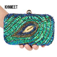 Wholesale vintage beaded clutch evening bag for sale - Group buy Vintage Women Clutch Bags Peacock Sequins Beaded Chain mini handbags Bridal Purse luxury Party Evening Bag