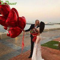 papel de globo de helio corazón al por mayor-18inch 240pcs del corazón Globos Amor inflable Globo Foil boda día de San Valentín Decoración Globo de helio Te Amo Globos