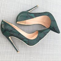 ingrosso scarpe asakuchi-Fairy2019 Snake Green Sharp 12cm Col tacco alto Fine With Women's 10cm Small Single Asakuchi Shoes Donna Will Code