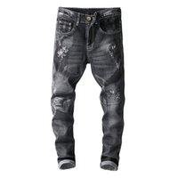 ingrosso fiori ricamati neri-Jeans skinny strappati ricamati con fiori bianchi ricamati Pantaloni in denim stretch con effetto ricamato nero