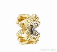925 kelebek yüzük toptan satış-kadınlar için 2019 Bahar 925 Gümüş yüzükler Ajur kelebek Yüzük Orjinal Moda Nişan düğün Pandora Rings DIY Charms Takı