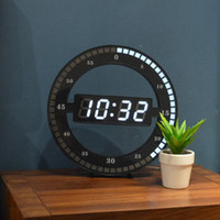 Wholesale digital home decor resale online - Living Room Wall Clock Mute Creative Digital Electronic LED Simple Night Glow Round Home Decoration Minimalist Modern Wall Decor