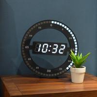 dijital saat sesini kapatma toptan satış-Oturma Odası Duvar Saati Sessiz Yaratıcı Dijital Elektronik Basit Gece Glow Yuvarlak Ev Dekorasyon Minimalist Modern Duvar Dekorların LED