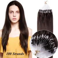 insan saçı mikro döngüler uzantısı toptan satış-Mikro Halka Döngü 100% İnsan Saç Uzantıları Doğal Yumuşak Gerçek Güzellik Düz Saç Hediye 100 paketlerini bir pakette, (renk # 04 Orta Kahverengi)