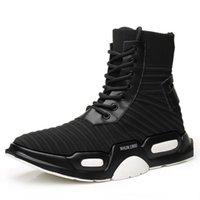 meia calça sola venda por atacado-Unisex Moda estilo Casual Meias de malha de Esportes Botas lace up voar tecer meias sapatos heighen alta vamp espessura sola de coco sapatos tamanho 38-44