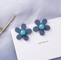 Wholesale mother pearl stud earring flower for sale - Group buy Fashion Designer Flower Earrings for Women Jewelry Geometric Earrings Hot Sale Blue Flower Ear Stud for Party