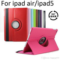 Wholesale ipad5 tablet resale online - Magnetic Rotating leather case Smart cover Stand For iPad5 ipad Tablet PC Cases