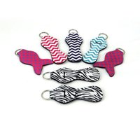Wholesale new lipstick designs for sale - Group buy Mermaid Lilly Keychain Neoprene Key Chain Chapstick Holder Keychains Lipstick Cover Mermaid Fish Design Key Ring Lip Balm Keychain Gifts New