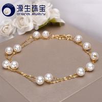 colliers perles chine achat en gros de-[ys] Or 18 carats 5-5.5mm Collier de perles blanches Collier de perles de culture d'eau douce de Chine Q190416