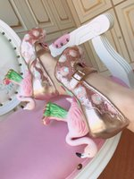 ingrosso pompe rotonde toe mary jane-Super Gergous Pink Flamingo Heel Pumps Donna Round Toe Pumps Elegante Pink Green Lace Ladies Heels Mary Jane Cute Bow Tacchi alti