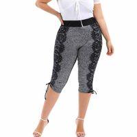 perneiras de comprimento de bezerro de verão venda por atacado-Mulheres Na Moda de verão Plus Size Cintura Alta Calções de Yoga Leggings de Fitness Lace Costura Bezerro Comprimento Calças Esportivas Para Senhoras