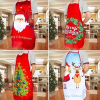 Wholesale pockets restaurant for sale - Group buy Merry Christmas Apron Deer Snowman Printing Xmas Apron Big Pocket Kitchen Baking Restaurant Christmas Decorations For Home