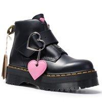 fivelas de fecho de correr venda por atacado-Mulheres botas de salto grosso coração fivela sapatos de couro genuíno botas com zíper sola de músculo da vaca sexy zip boot bota de salto alto para senhora zy8473