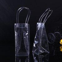 bolsas de botellas de vino de plástico al por mayor-Bolsa de vino para vino de plástico transparente Bolsa de botella de vino individual Contenedor de alimentos Almacenamiento de bebidas Accesorios de cocina W9616