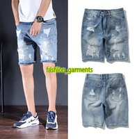 Wholesale men s wild pants resale online - 2019 Summer New Men s Jeans Fashion Hole Denim Shorts Men s Designer Pants Trend Thin Section Wild Thin Shorts