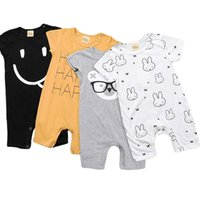 barboteuses bébé lapin achat en gros de-INS bébé barboteuses infantile combinaisons à manches courtes en coton doux lettre lapin combinaison d'été décontracté enfants vêtements 4 styles