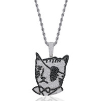 Wholesale pirate pendant stainless resale online - Luxury Designer Bling Diamond One eyed Cat Pirate Pendant Chain Necklace Personalized White and Black CZ Cartoon Hip Hop Jewelry