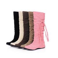 şirin topuk çizmeleri toptan satış-Kadın Diz Yüksek Topuk Çizmeler Kız Platformu Kış Çizmeler Püskül Sevimli Kar Botları Büyük Boy 34-43
