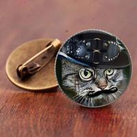 hochzeit plastik pins broschen großhandel-Niedliche Katzenkarikaturbrosche Schmuckmode-Accessoires übersichtliches steampunk Katzentierbroschen-Geschenkstifte