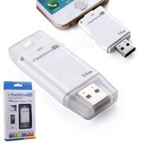 nuevas unidades flash al por mayor-Usb de 64 gb NUEVO Unidad flash USB de alta calidad 64G i-flash drive HD Memoria USB Pendrive para iphone / ipad / PC / MAC