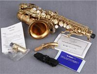sax c venda por atacado-Yanagisawa SC-992 Musical B Curvo Liso Saxofone Soprano Laca Instrumento de ouro Sax Com Bocal DHLFree Grátis