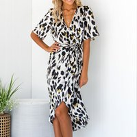 seksi kadın s plaj kıyafeti elbisesi toptan satış-Kadın leopar baskı uzun dress moda seksi v boyun yüksek bel bölünmüş parti dress casual vestidos artı boyutu beachwear