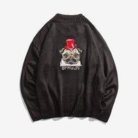 ingrosso ragazzi maglia maglione modello-Maglione lavorato a maglia Harajuku per ricamo a maglia con scollo a balze per uomo Urban Boys Streetwear - Pullover lavorato a maglia a maglia con spacco laterale per uomo