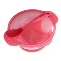 ingrosso cuccioli di alimentazione per bambini-2Pcs / set Candy Color Baby Tableware Dinnerware Aspirazione Bowl + Spoon baby Training Alimentazione ciotole