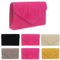 Wholesale ladies hand purse wedding for sale - Group buy Fashion Women Lady Pleated Suede Wedding Party Prom Evening Clutch Hand Bag Purse Handbag