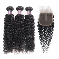 Wholesale body wave hair weaves for sale - Group buy Brazilian Kinky Straight Body Wave Bundles With Lace Closure quot Straight Human Hair Bundles with Closure