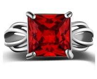 ingrosso grandi gioielli sexy-Sexy Mom Big Red CZ Cubic Zircone Pietra Anelli d'argento per le donne Gioielli Classic Trendy anello di fidanzamento