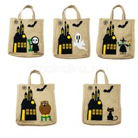 çanta kedi baskısı toptan satış-5styles Cadılar Bayramı çanta Çocuklar Hediyeler Şeker Çanta hayalet kedi cadı Baskılı karikatür Masquerade Partisi Çantalar Depolama çantası FFA2945