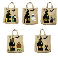 ingrosso borsa stampa gatto-5styles Halloween borsa per bambini da regalo sacchetti di caramelle fantasma gatto strega cartone animato stampato partito di travestimento di borse bagagli bag FFA2945