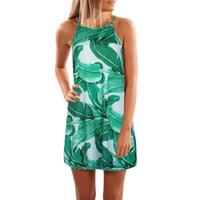 vestidos curtos toptan satış-2017 Kadın Yaz Elbise Moda Yeşil Yapraklar Baskı Plaj Elbise Yüksek Kaliteli Spagetti Kayışı A-Line Elbiseler Vestidos Curtos # 10