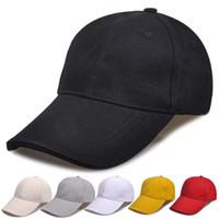 ingrosso visiere vuote-Progettista pianura personalizzato berretti da baseball in cotone regolabile Strapbacks per gli uomini adulti di stoffa curvo sport cappelli vuoto solido golf visiera parasole cny1373