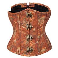 vestido vitoriano marrom venda por atacado-Marrom underbust espartilhos e corpetes vintage sexy vitoriano espartilho vestidos gothic steampunk dress trajes burlesco para as mulheres