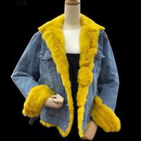 jeans coreanos morados al por mayor-Estilo coreano de las mujeres de invierno gruesa Jean chaqueta de moda amarillo púrpura Faux cuello de cuello de mezclilla abrigo de algodón femenino acolchado cálido Denim abrigos